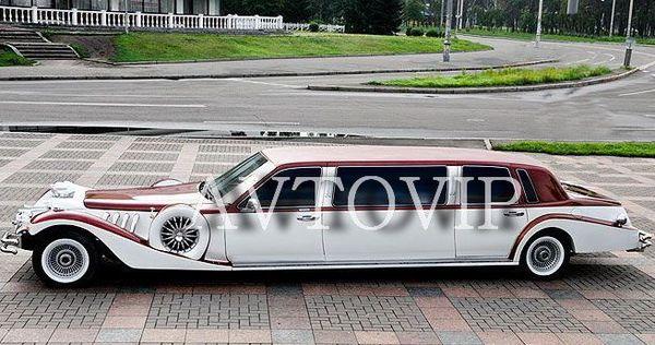 Excalibur бело бордовый ретро лимузин