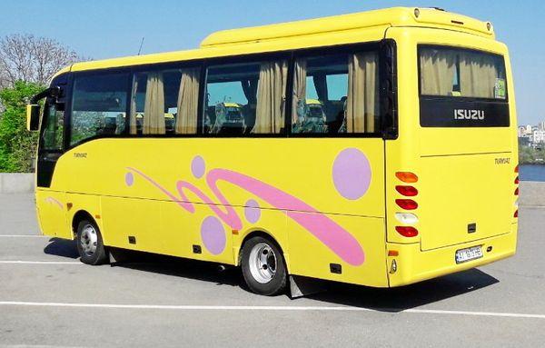 Isuzu желтый автобус аренда в киеве